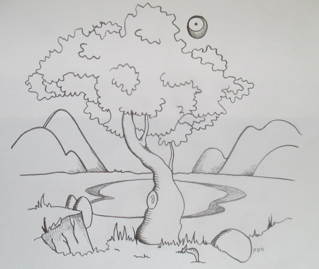 drawing-tree-lake-mountains