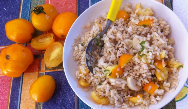 brown-rice-with-yellow-tomatoes